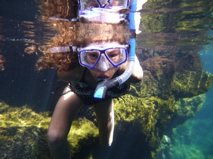 Rachel snorkeling at Las Grietas